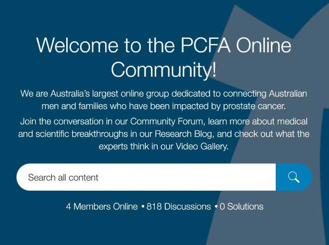 PCFA online Community website snap shot