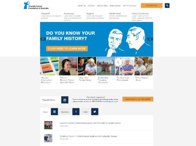 Snapshot of PCFA website